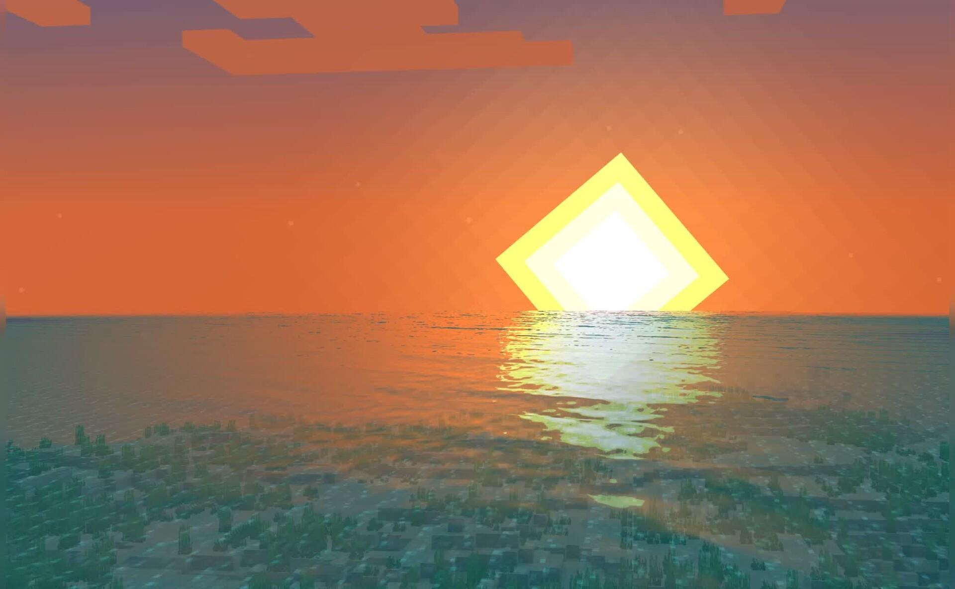 我的世界海面日升月落Mac动态壁纸