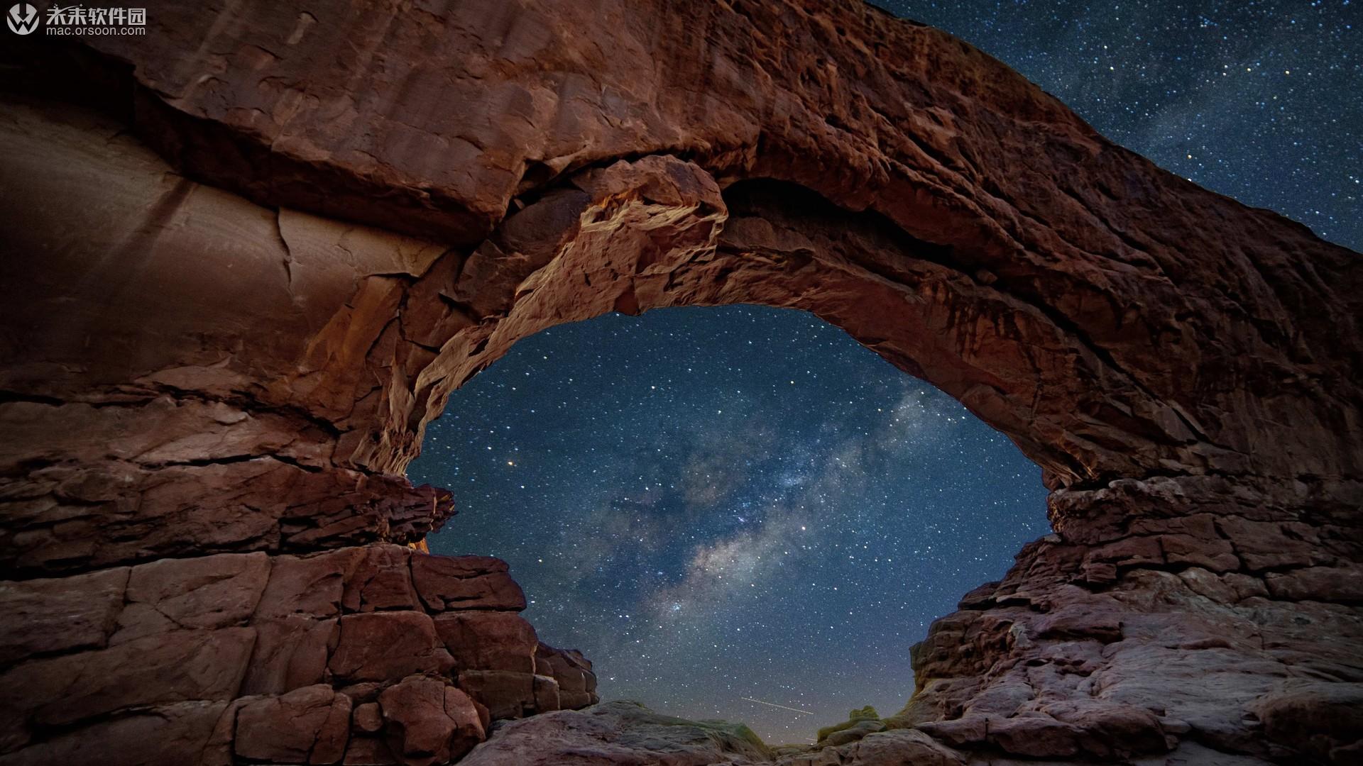 岩石夜空桌面高清动态壁纸