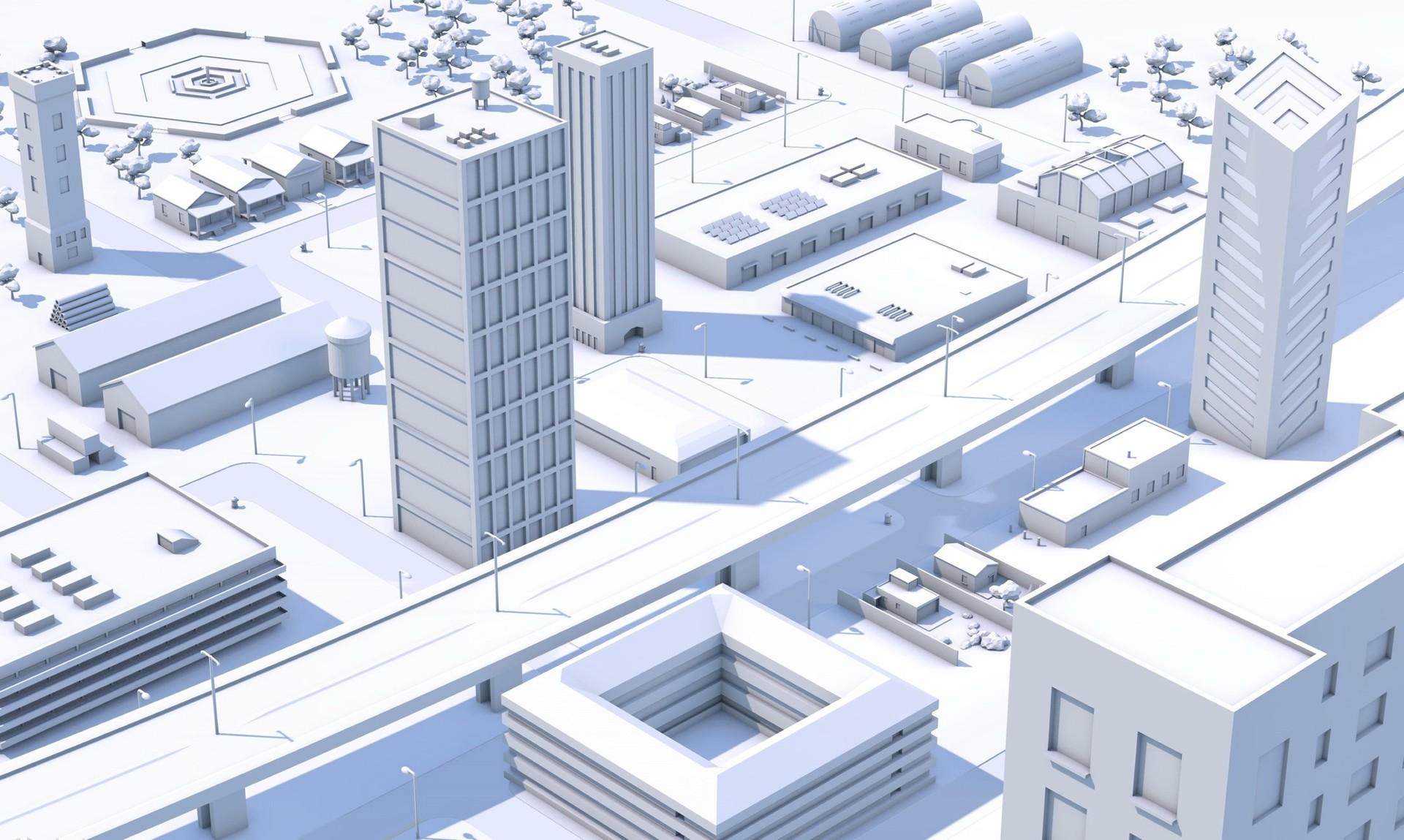 白色城市3K动态壁纸