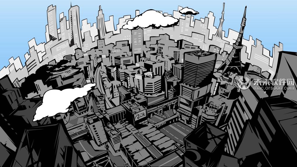 漫画风格日本东京城市动态壁纸