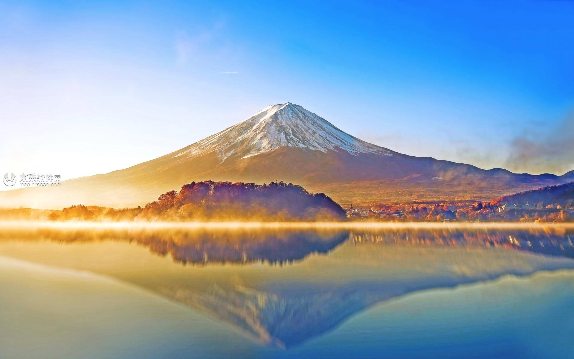 金色富士山动态桌面壁纸