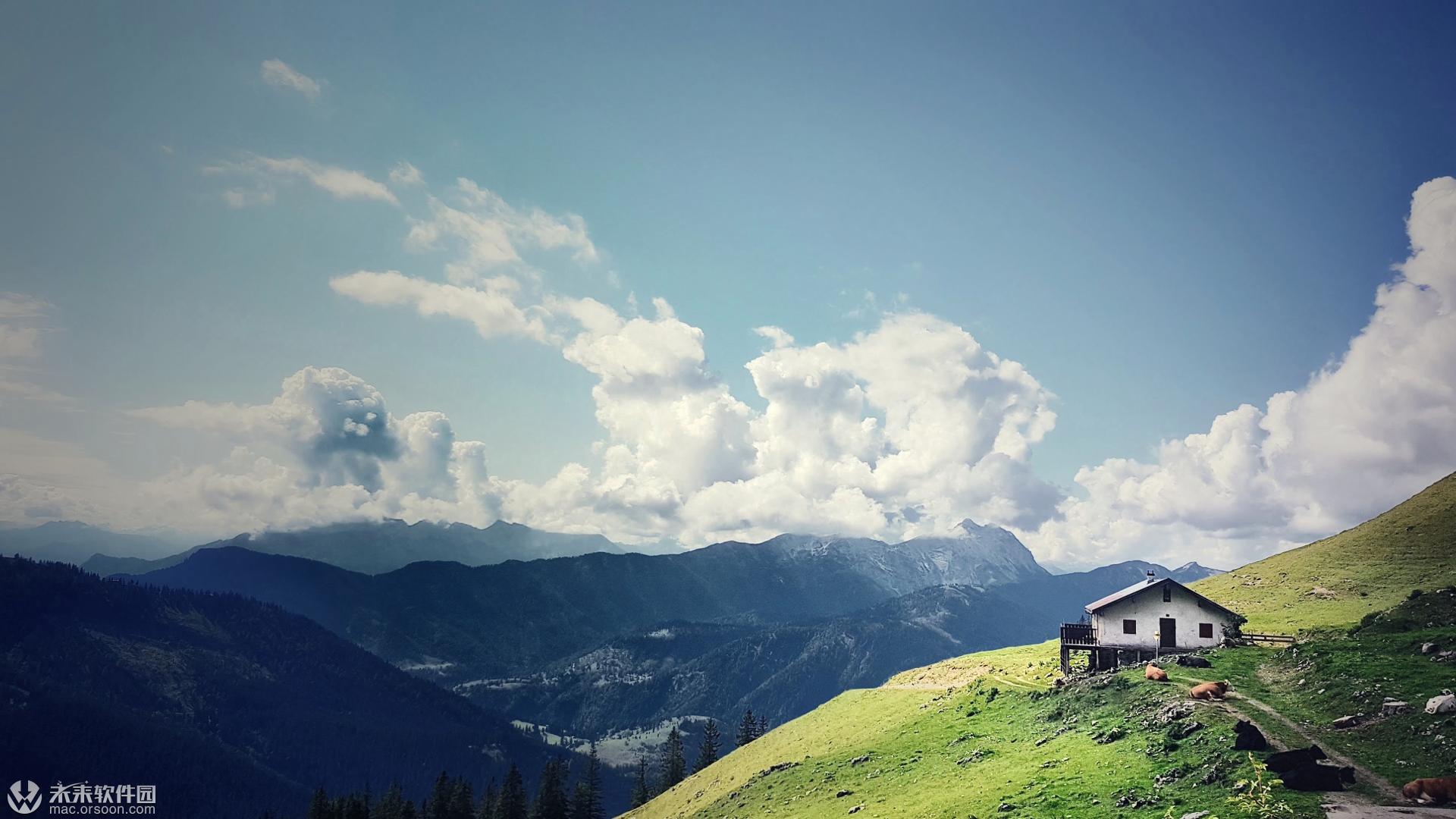 阿尔卑斯山的小屋动态壁纸