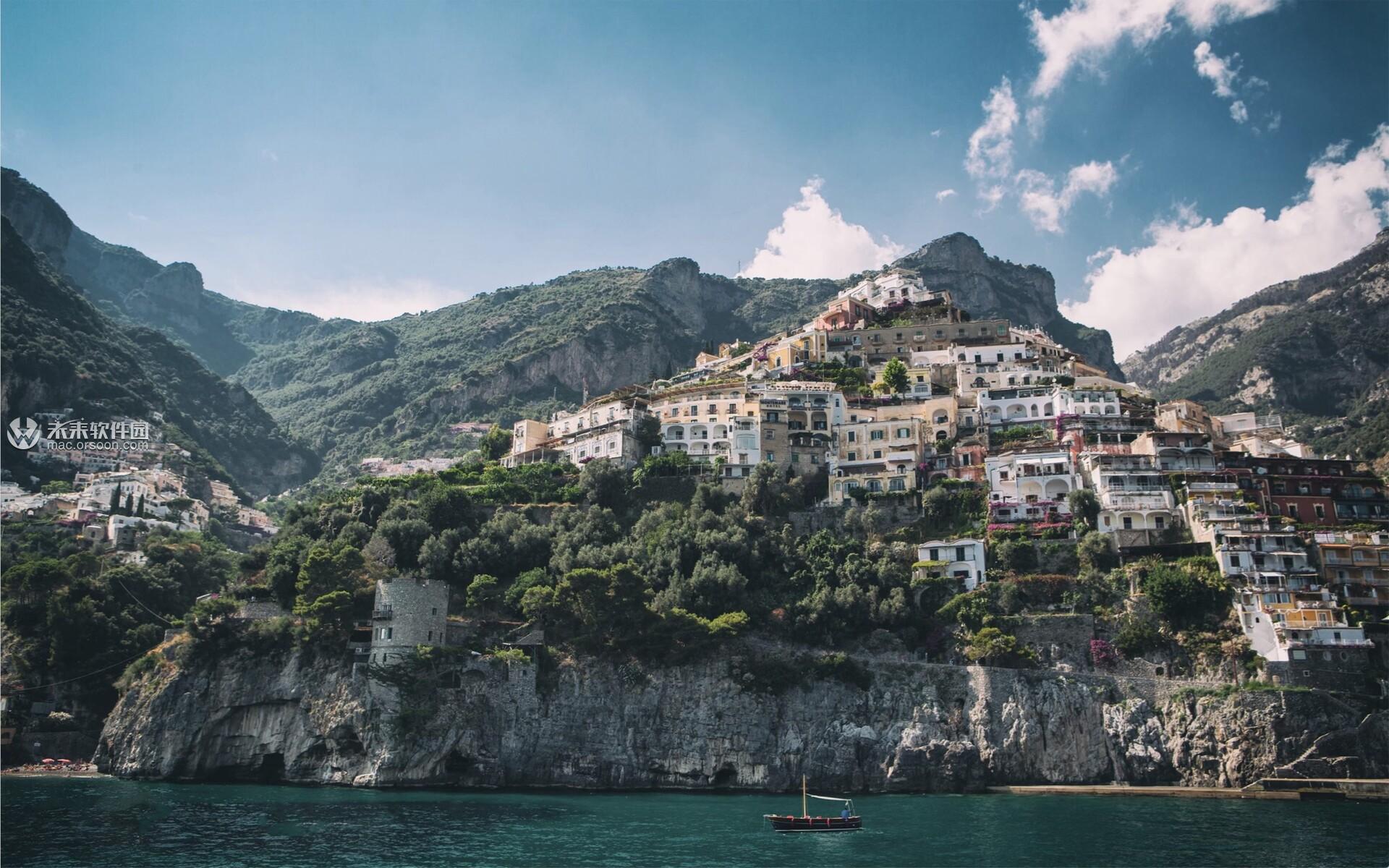 波西塔诺小镇美丽风景Mac动态壁纸