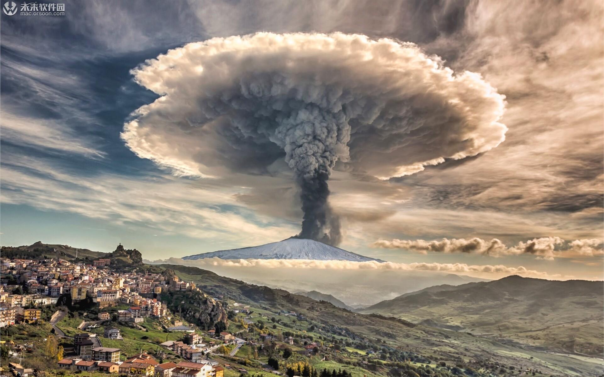 埃特纳火山爆发Mac动态壁纸