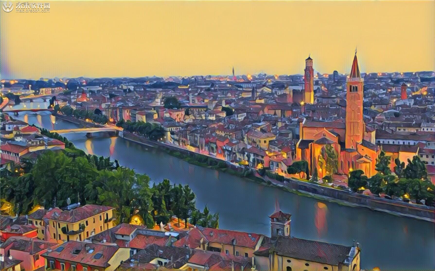 意大利维罗纳城市油画高清Mac动态壁纸