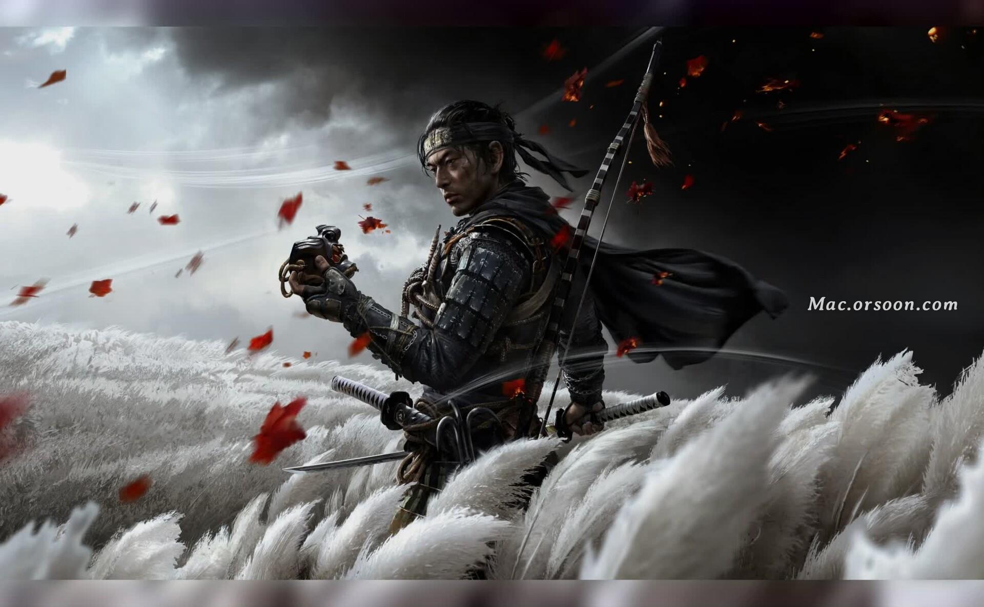 对马岛之魂游戏武士Mac动态壁纸
